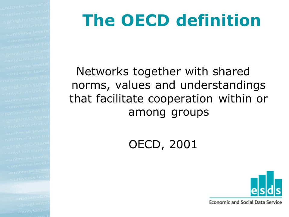 The OECD definition Networks together with shared norms, values and understandings that facilitate cooperation within or among groups OECD, 2001