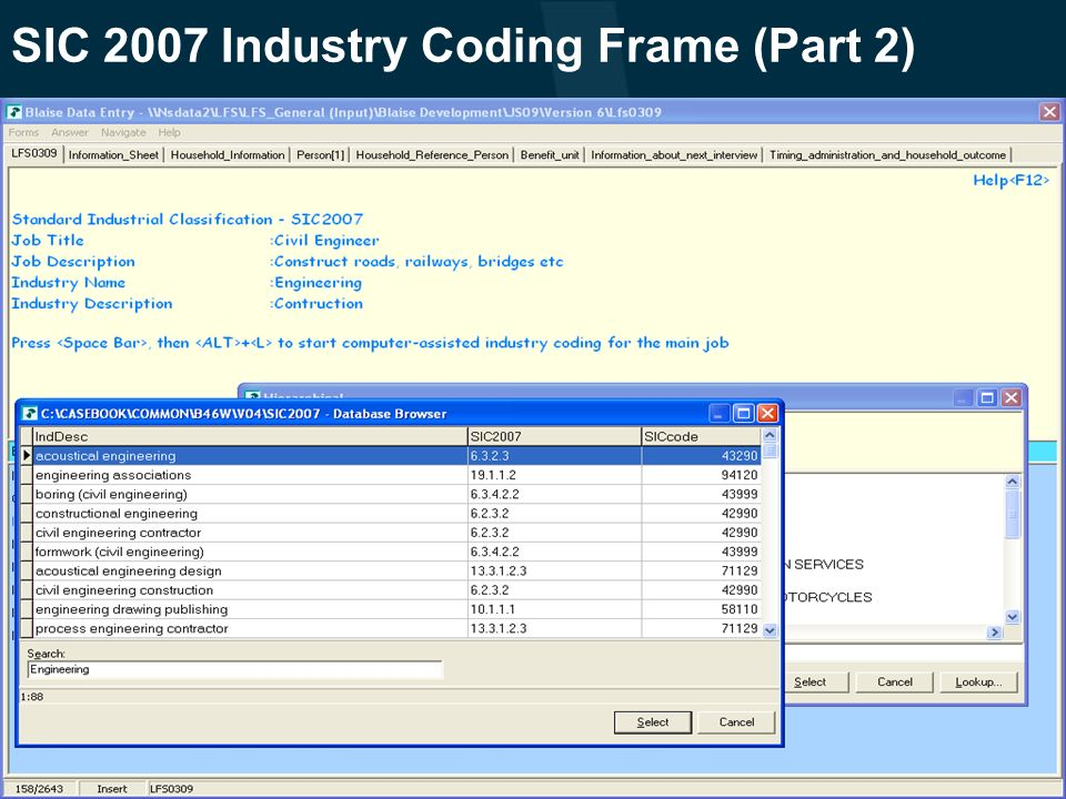SIC 2007 Industry Coding Frame (Part 2)