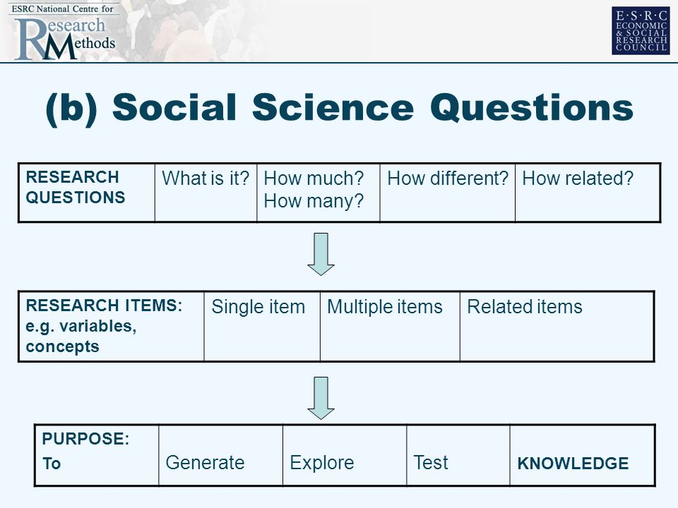 (b) Social Science Questions RESEARCH ITEMS: e.g. variables, concepts Single itemMultiple itemsRelated items RESEARCH QUESTIONS What is it?How much? H