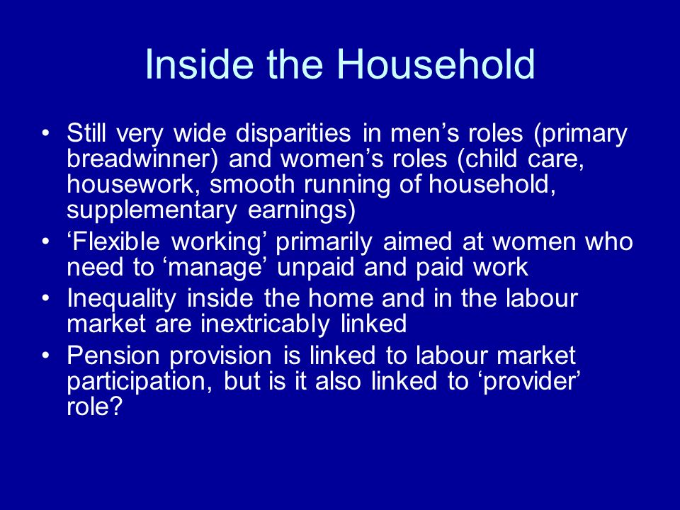 Inside the Household Still very wide disparities in mens roles (primary breadwinner) and womens roles (child care, housework, smooth running of household, supplementary earnings) Flexible working primarily aimed at women who need to manage unpaid and paid work Inequality inside the home and in the labour market are inextricably linked Pension provision is linked to labour market participation, but is it also linked to provider role?