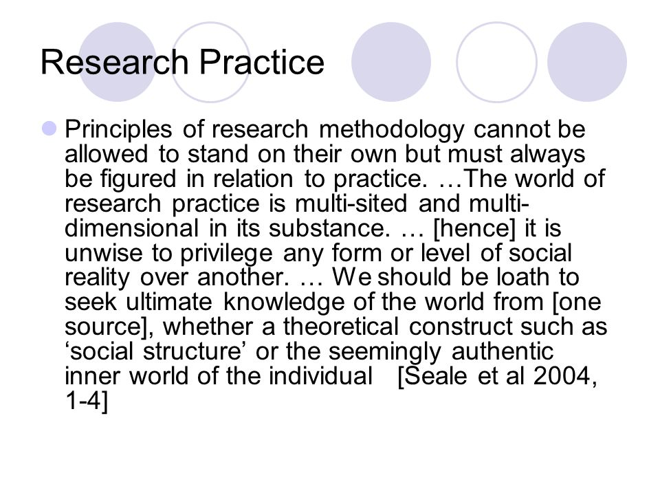 Research Practice Principles of research methodology cannot be allowed to stand on their own but must always be figured in relation to practice.