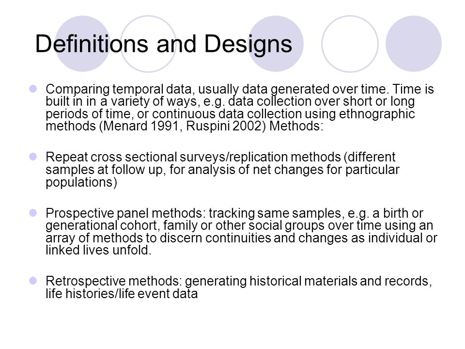 Definitions and Designs Comparing temporal data, usually data generated over time.