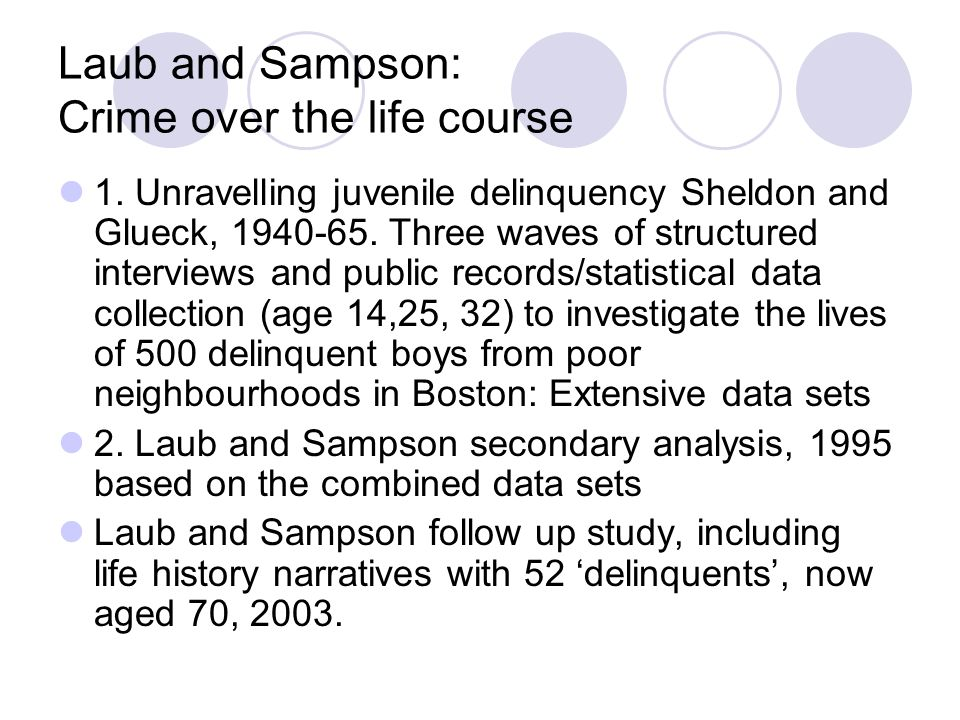 Laub and Sampson: Crime over the life course 1.