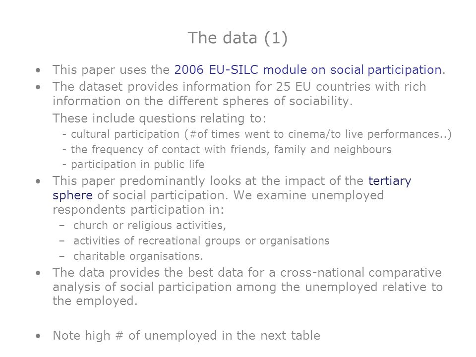 The data (1) This paper uses the 2006 EU-SILC module on social participation. The dataset provides information for 25 EU countries with rich informati