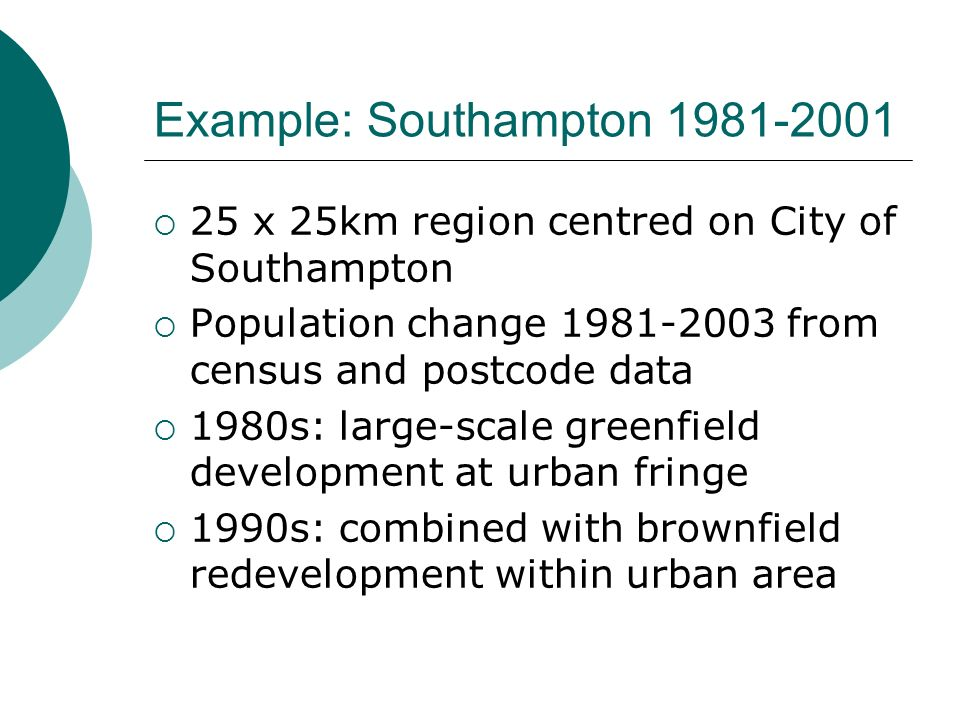 Example: Southampton x 25km region centred on City of Southampton Population change from census and postcode data 1980s: large-scale greenfield development at urban fringe 1990s: combined with brownfield redevelopment within urban area