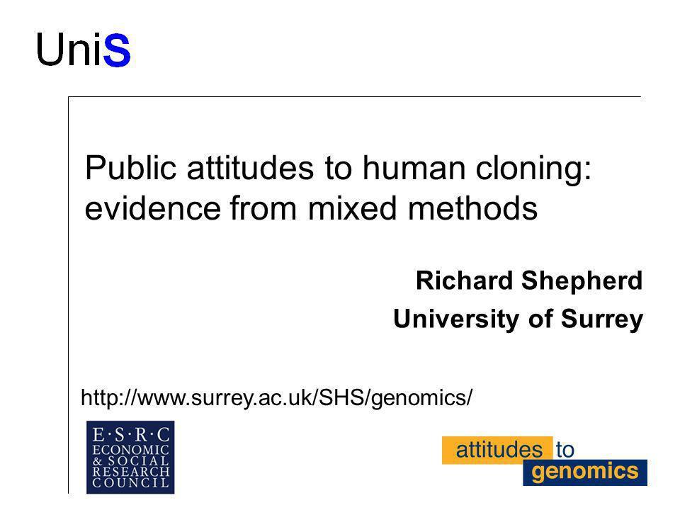 Public attitudes to human cloning: evidence from mixed methods Richard Shepherd University of Surrey http://www.surrey.ac.uk/SHS/genomics/