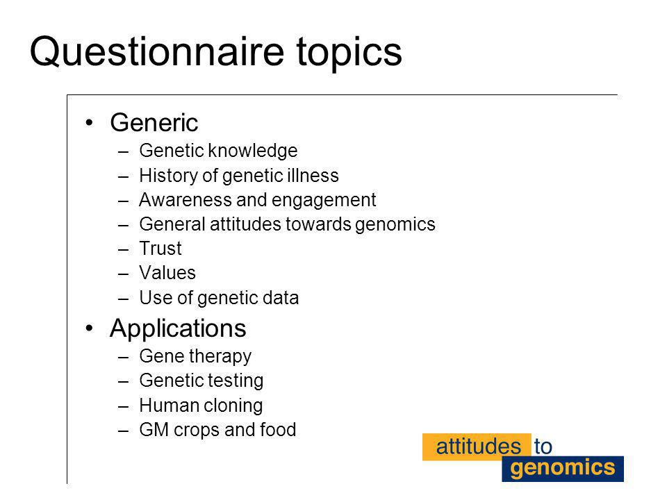 Questionnaire topics Generic –Genetic knowledge –History of genetic illness –Awareness and engagement –General attitudes towards genomics –Trust –Valu