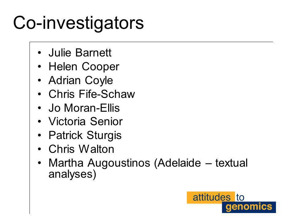 Co-investigators Julie Barnett Helen Cooper Adrian Coyle Chris Fife-Schaw Jo Moran-Ellis Victoria Senior Patrick Sturgis Chris Walton Martha Augoustin