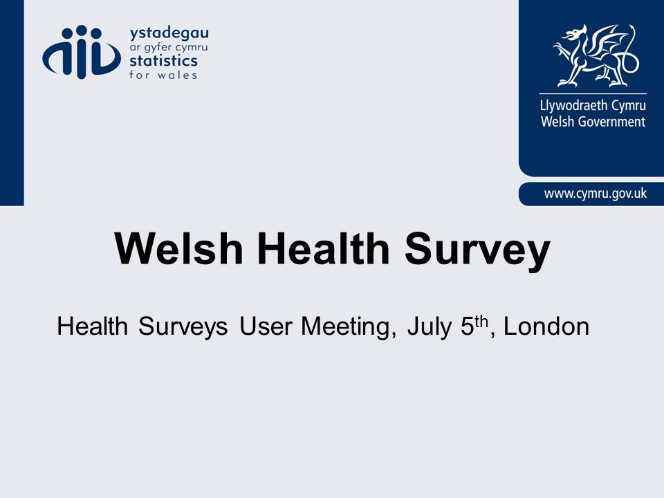 Welsh Health Survey Health Surveys User Meeting, July 5 th, London