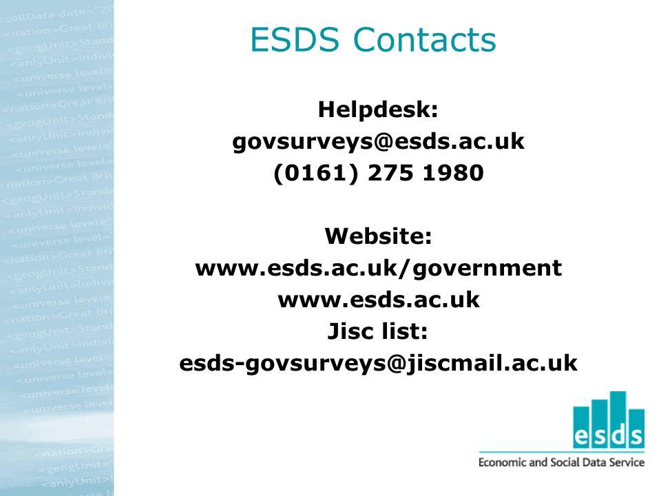 ESDS Contacts Helpdesk: govsurveys@esds.ac.uk (0161) 275 1980 Website: www.esds.ac.uk/government www.esds.ac.uk Jisc list: esds-govsurveys@jiscmail.ac.uk