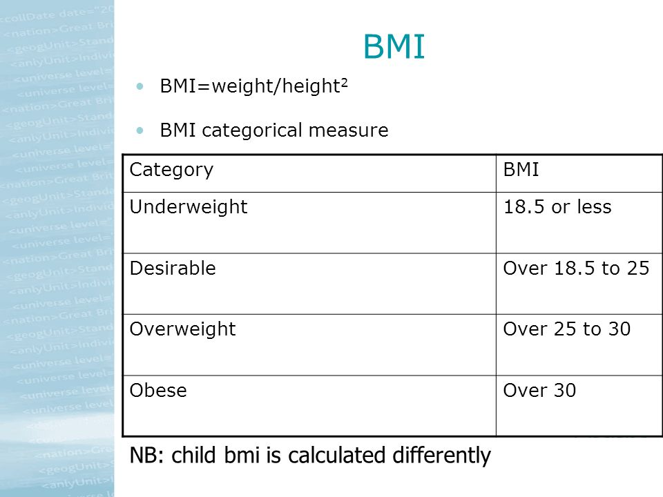 BMI BMI=weight/height 2 BMI categorical measure CategoryBMI Underweight18.5 or less DesirableOver 18.5 to 25 OverweightOver 25 to 30 ObeseOver 30 NB: child bmi is calculated differently
