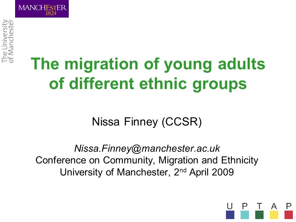 The migration of young adults of different ethnic groups Nissa Finney (CCSR) Nissa.Finney@manchester.ac.uk Conference on Community, Migration and Ethn