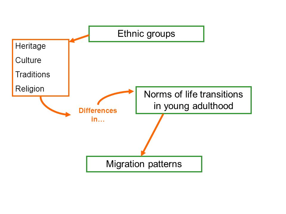 Ethnic groups Norms of life transitions in young adulthood Migration patterns Heritage Culture Traditions Religion Differences in…