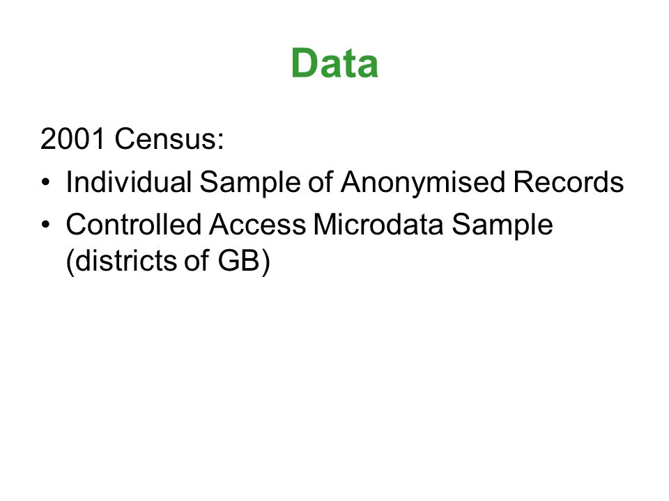Data 2001 Census: Individual Sample of Anonymised Records Controlled Access Microdata Sample (districts of GB)