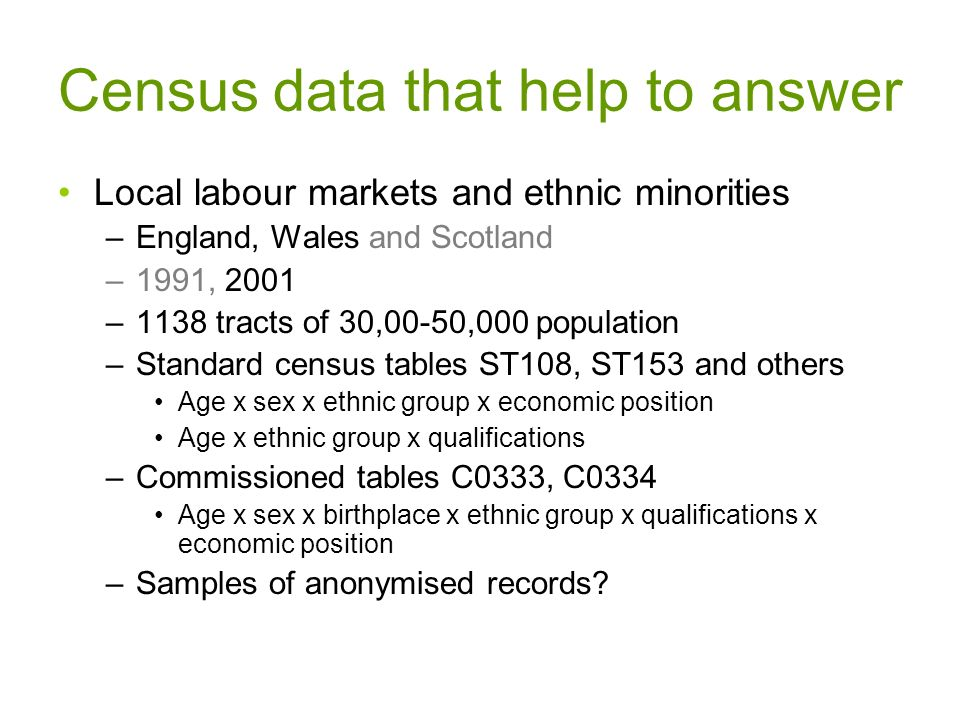 Census data that help to answer Local labour markets and ethnic minorities –England, Wales and Scotland –1991, 2001 –1138 tracts of 30,00-50,000 population –Standard census tables ST108, ST153 and others Age x sex x ethnic group x economic position Age x ethnic group x qualifications –Commissioned tables C0333, C0334 Age x sex x birthplace x ethnic group x qualifications x economic position –Samples of anonymised records?