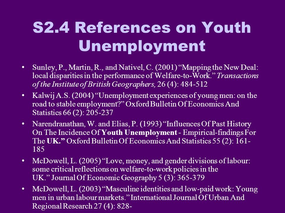S2.4 References on Youth Unemployment Sunley, P., Martin, R., and Nativel, C.