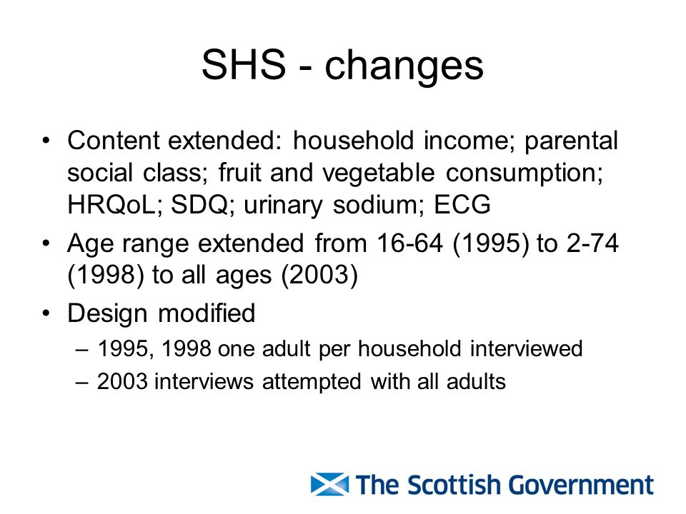 SHS - changes Content extended: household income; parental social class; fruit and vegetable consumption; HRQoL; SDQ; urinary sodium; ECG Age range extended from 16-64 (1995) to 2-74 (1998) to all ages (2003) Design modified –1995, 1998 one adult per household interviewed –2003 interviews attempted with all adults