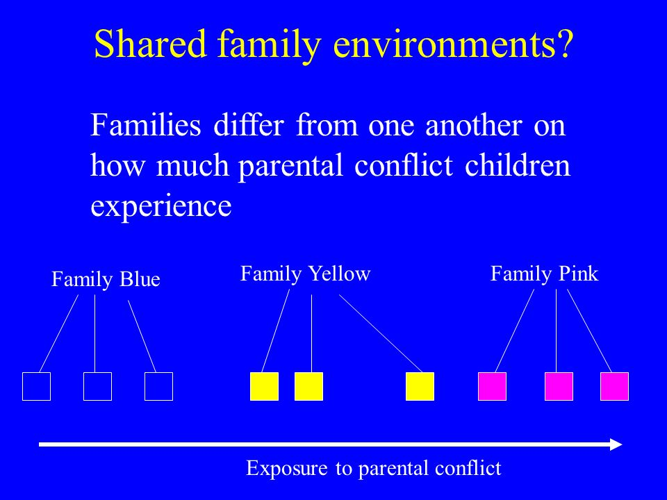 Shared family environments? Exposure to parental conflict Family Blue Family YellowFamily Pink Families differ from one another on how much parental c