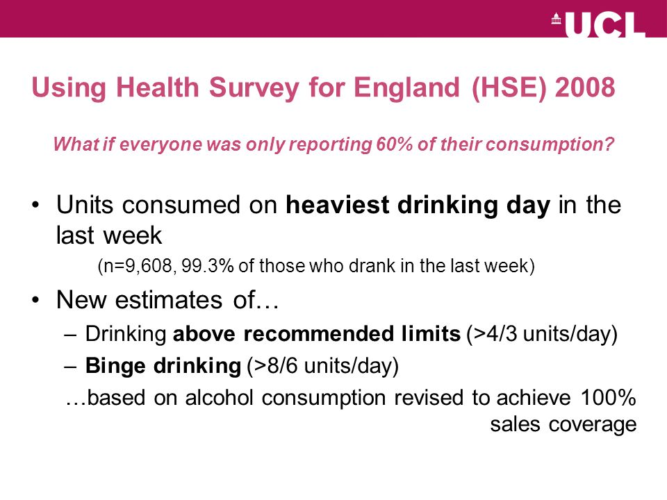 Using Health Survey for England (HSE) 2008 What if everyone was only reporting 60% of their consumption.
