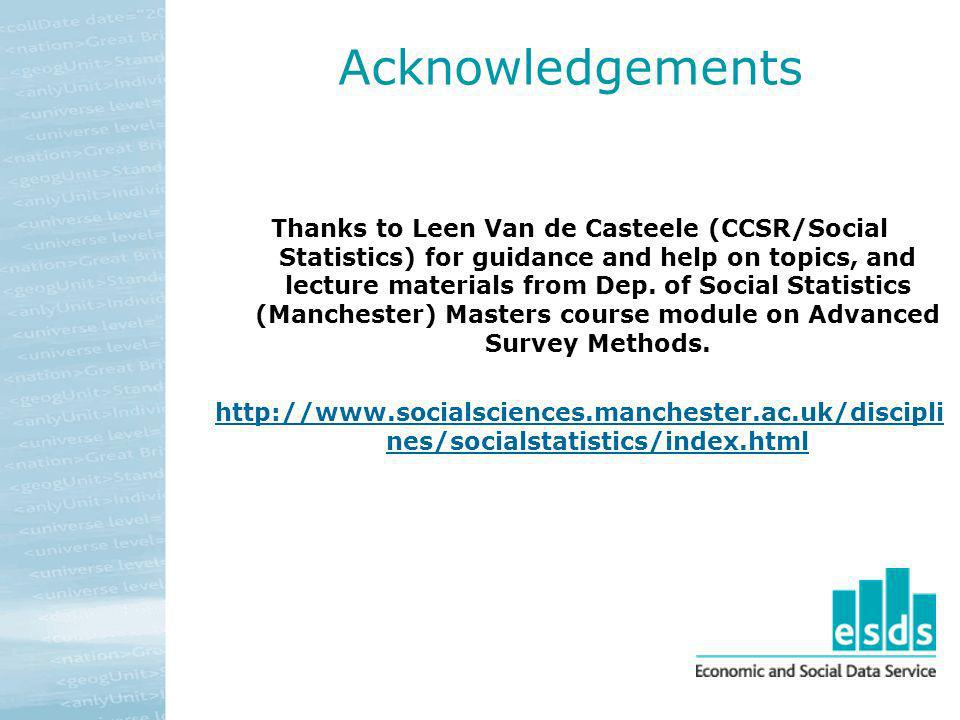 Acknowledgements Thanks to Leen Van de Casteele (CCSR/Social Statistics) for guidance and help on topics, and lecture materials from Dep. of Social St