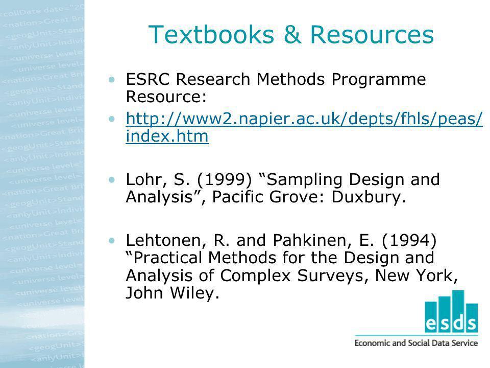 Textbooks & Resources ESRC Research Methods Programme Resource: http://www2.napier.ac.uk/depts/fhls/peas/ index.htmhttp://www2.napier.ac.uk/depts/fhls