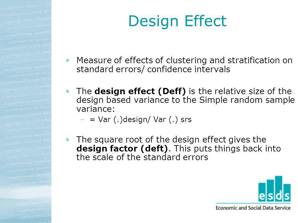 Design Effect Measure of effects of clustering and stratification on standard errors/ confidence intervals The design effect (Deff) is the relative si