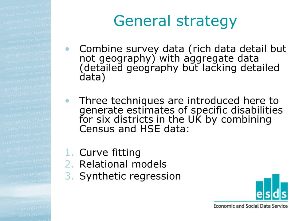 General strategy Combine survey data (rich data detail but not geography) with aggregate data (detailed geography but lacking detailed data) Three tec