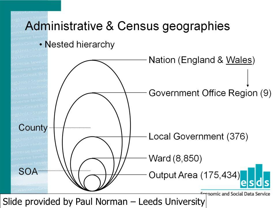 Slide provided by Paul Norman – Leeds University