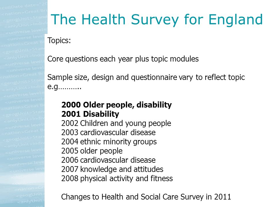 Topics: Core questions each year plus topic modules Sample size, design and questionnaire vary to reflect topic e.g……….. 2000 Older people, disability