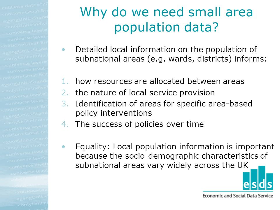 Why do we need small area population data.
