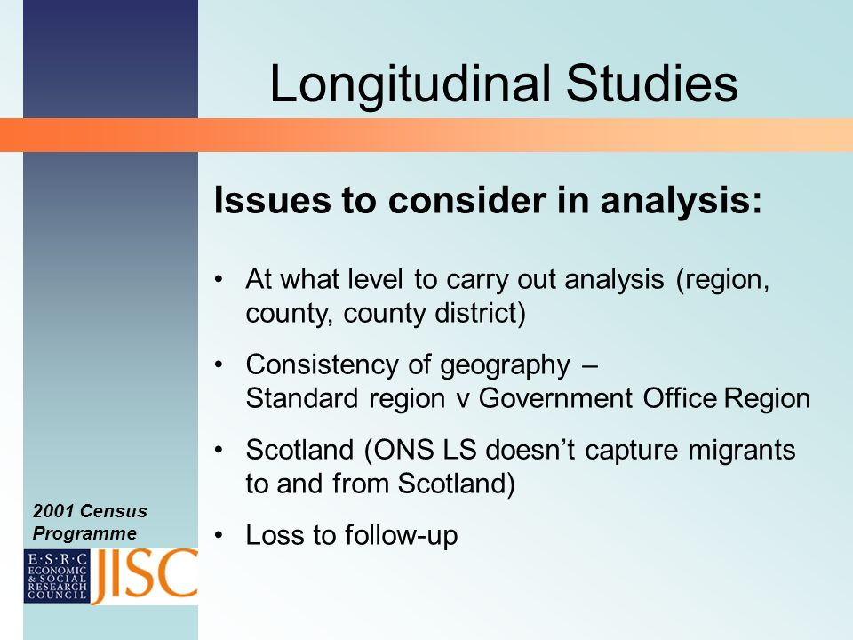 2001 Census Programme Longitudinal Studies Issues to consider in analysis: At what level to carry out analysis (region, county, county district) Consistency of geography – Standard region v Government Office Region Scotland (ONS LS doesnt capture migrants to and from Scotland) Loss to follow-up
