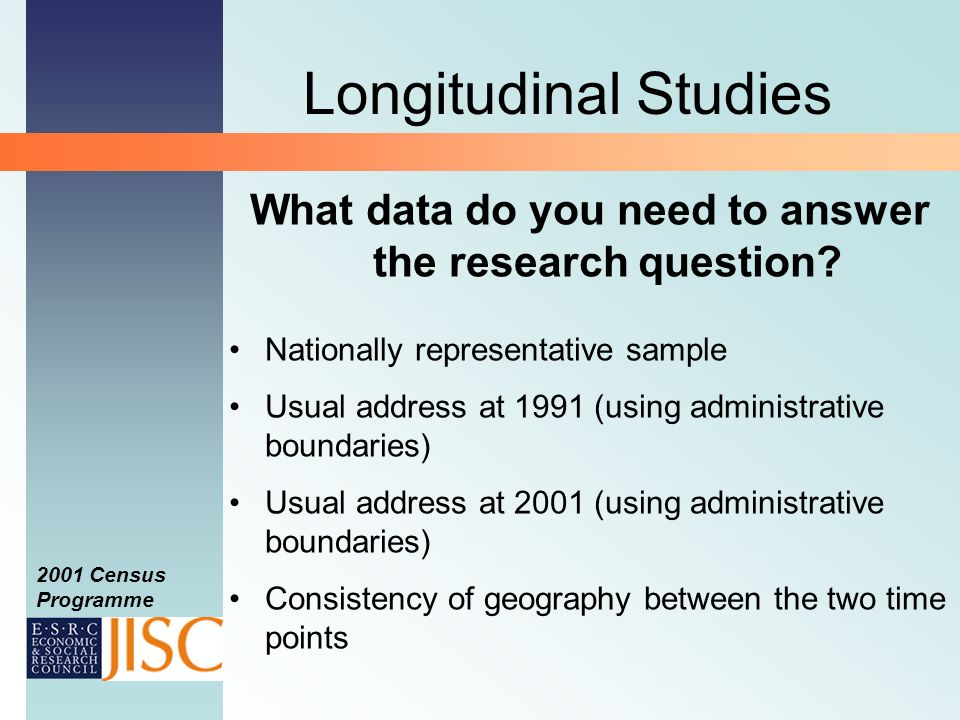 2001 Census Programme Longitudinal Studies What data do you need to answer the research question.