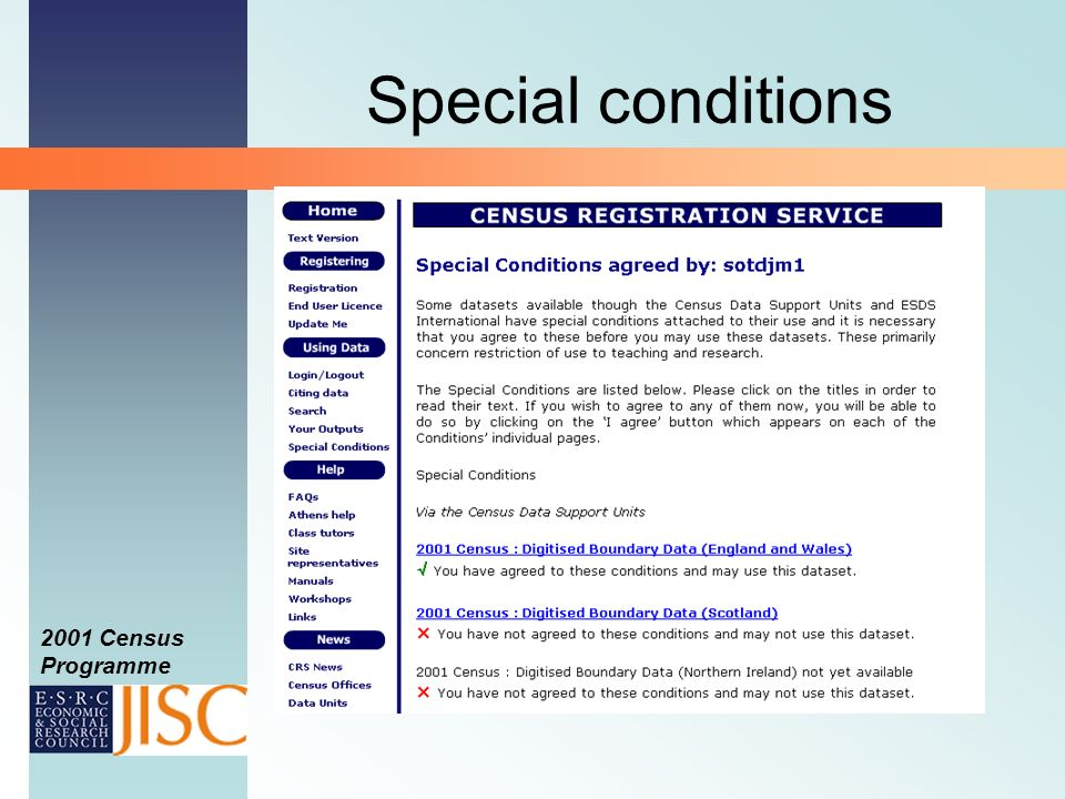 2001 Census Programme Special conditions