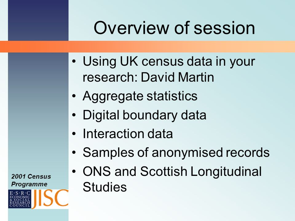 2001 Census Programme Longitudinal Studies What LS data would allow you to answer the research question.