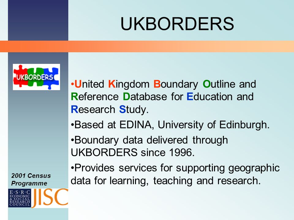 2001 Census Programme UKBORDERS United Kingdom Boundary Outline and Reference Database for Education and Research Study.