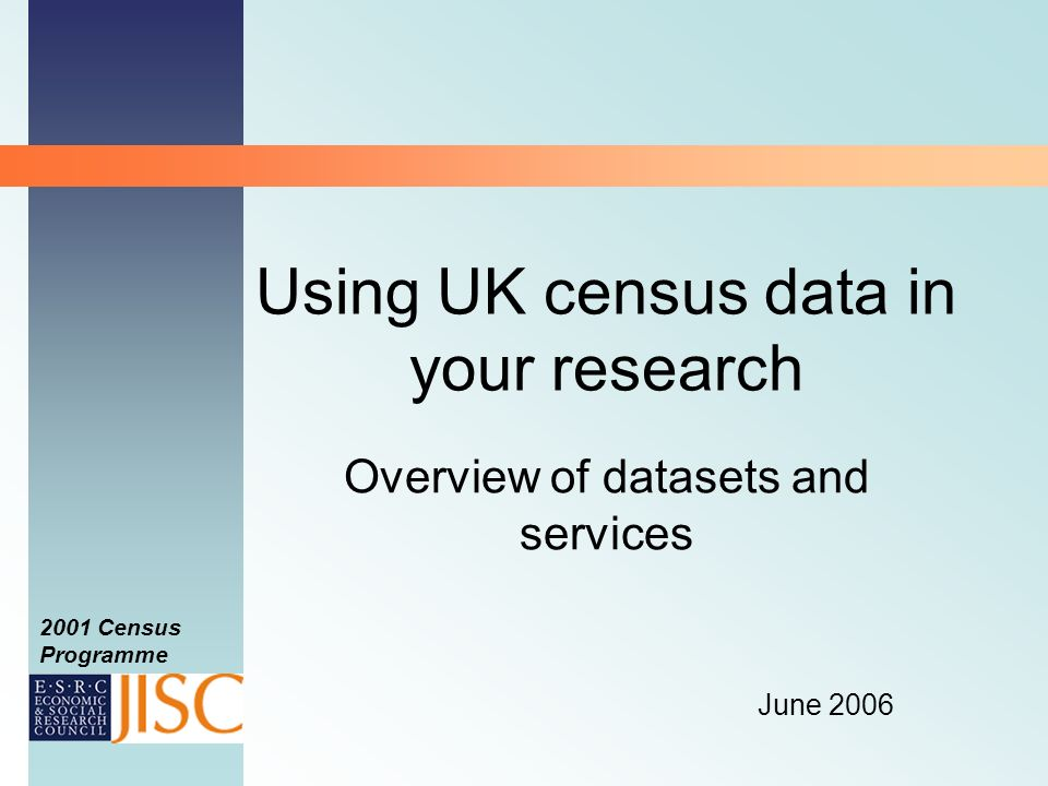 2001 Census Programme Example query 1 Use Quick selection to select all 426 districts at level 1 as origins Use List selection select Oxford district as destination Use SMS 2001 Census at level 1 and select Total Migrants 1.User wants to find out how many people migrated to Oxford in 2000-01 and where they came from Can then map the data WICID query