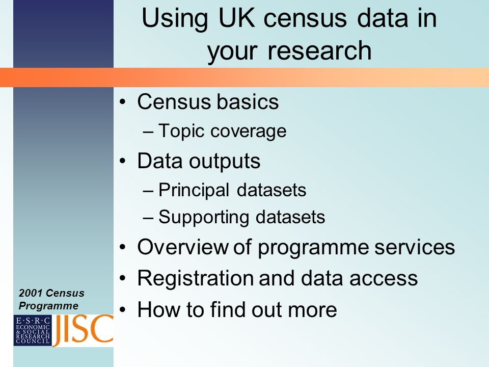 2001 Census Programme Using UK census data in your research Census basics –Topic coverage Data outputs –Principal datasets –Supporting datasets Overview of programme services Registration and data access How to find out more