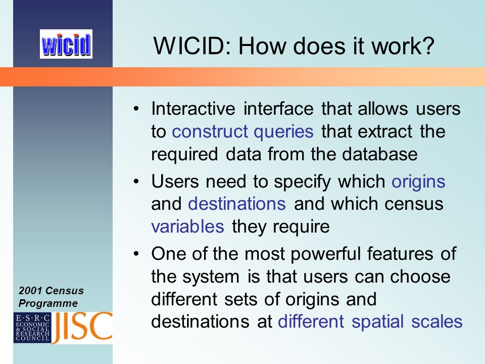 2001 Census Programme WICID: How does it work.