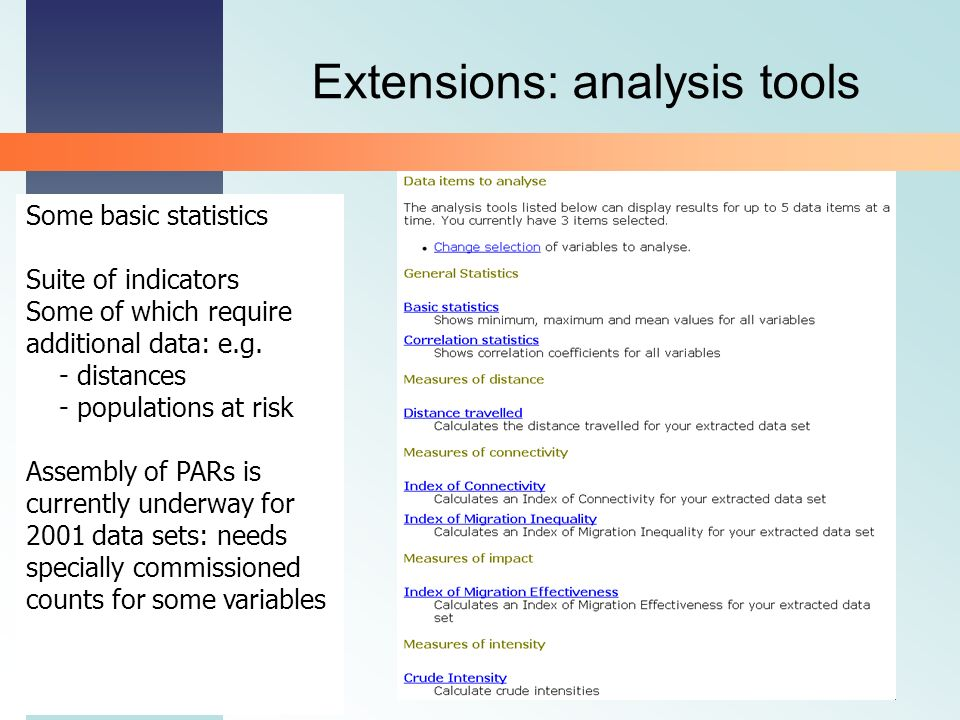 2001 Census Programme Extensions: analysis tools Some basic statistics Suite of indicators Some of which require additional data: e.g.