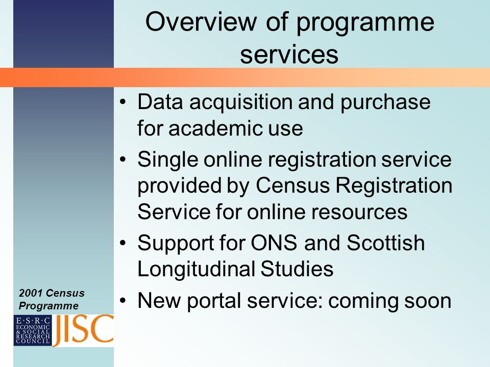 2001 Census Programme Census basics Decennial data collection, most recently 29 April 2001 Most detailed and comprehensive data source for socioeconomic research Digital data series from modern censuses 1971 onwards NB national differences: England and Wales; Scotland; Northern Ireland