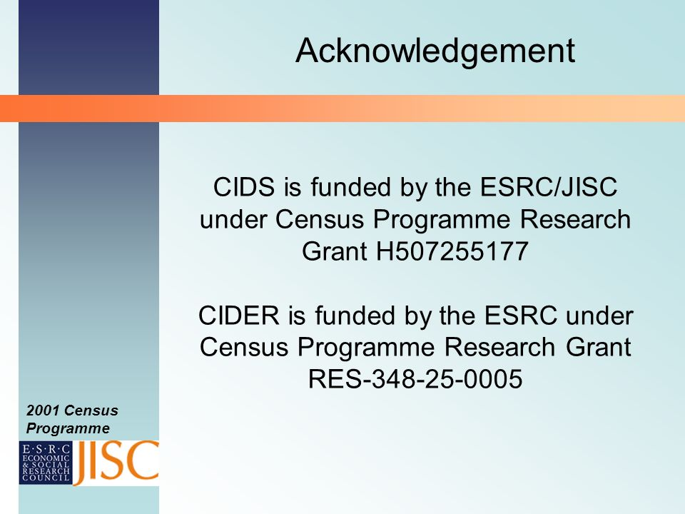 2001 Census Programme CIDS is funded by the ESRC/JISC under Census Programme Research Grant H507255177 CIDER is funded by the ESRC under Census Programme Research Grant RES-348-25-0005 Acknowledgement