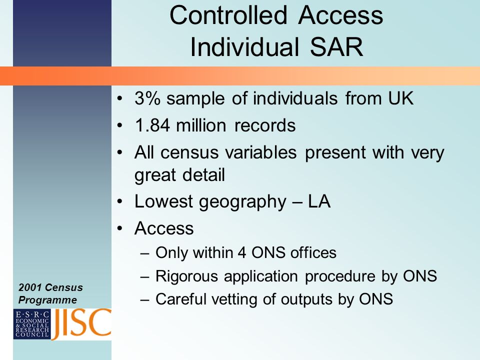 2001 Census Programme Controlled Access Individual SAR 3% sample of individuals from UK 1.84 million records All census variables present with very great detail Lowest geography – LA Access –Only within 4 ONS offices –Rigorous application procedure by ONS –Careful vetting of outputs by ONS