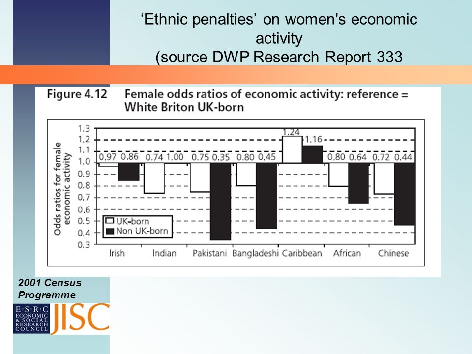 2001 Census Programme Ethnic penalties on women s economic activity (source DWP Research Report 333