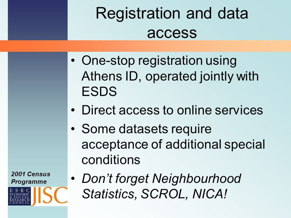 2001 Census Programme Registration – via Athens Complete online registration form; Agree to the End User Licence; Respond to confirmation email.