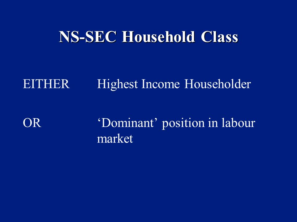 NS-SEC Household Class EITHER Highest Income Householder ORDominant position in labour market