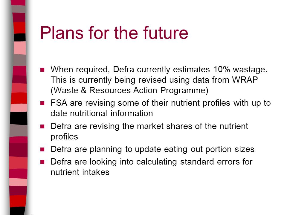 Plans for the future When required, Defra currently estimates 10% wastage.