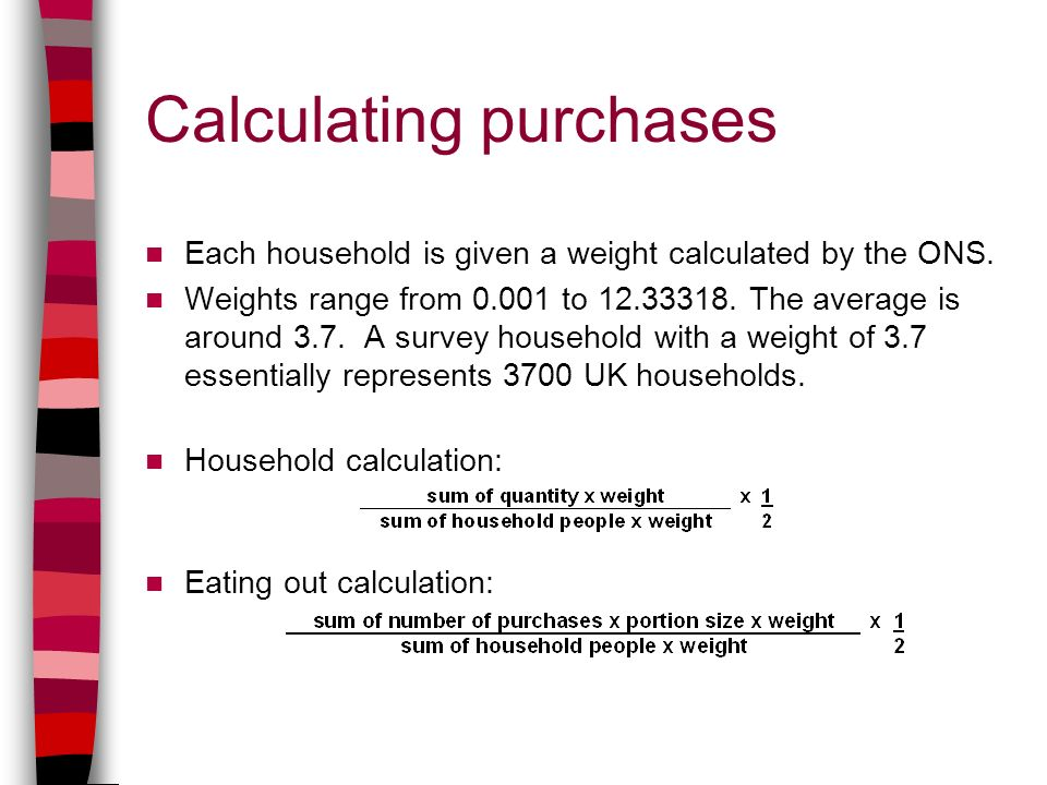 Calculating purchases Each household is given a weight calculated by the ONS.