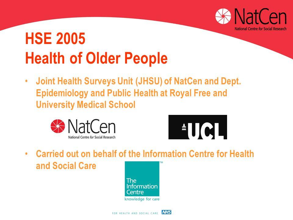 HSE 2005 Health of Older People Joint Health Surveys Unit (JHSU) of NatCen and Dept.