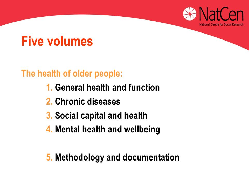 Five volumes The health of older people: 1. General health and function 2.