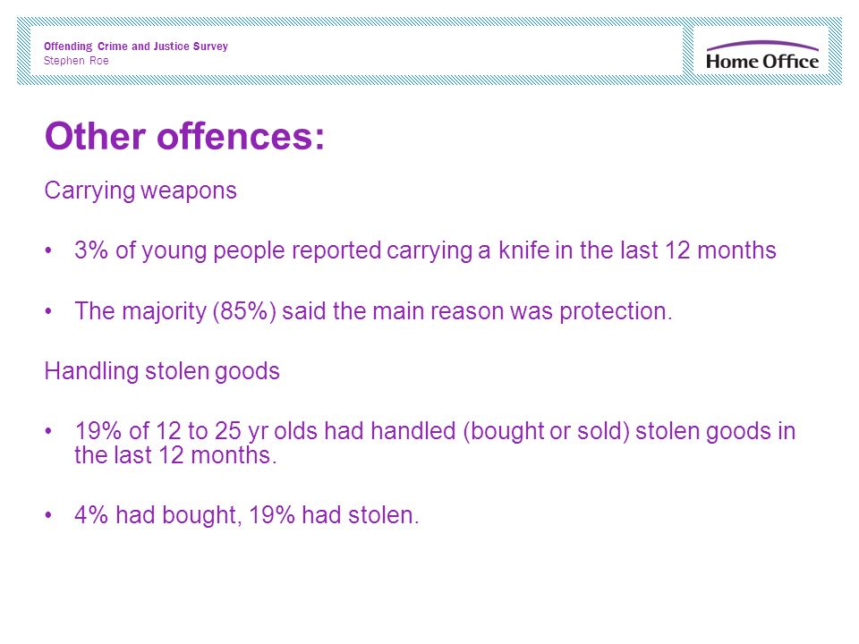 Offending Crime and Justice Survey Stephen Roe Other offences: Carrying weapons 3% of young people reported carrying a knife in the last 12 months The majority (85%) said the main reason was protection.